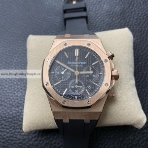 Đồng hồ Audemars Piguet Super fake 1:1 Chrobograph Rose Gold Black Leather dây silicon