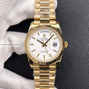 Rolex Day-Date 40mm Mặt Số trắng Fake 1-1 Cao Cấp