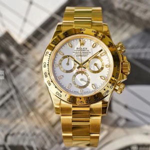 Rolex Daytona Yellow Gold Case White Dial 116508 Fake 1-1 Siêu Cấp